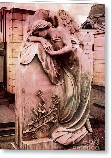 Surreal Angel Art Greeting Cards - Dreamy Surreal Beautiful Angel Art Photograph - Angel Mourning Weeping at Gravestone  Greeting Card by Kathy Fornal