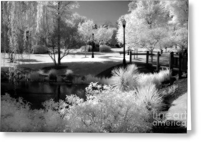 Infrared Greeting Cards - Dreamy Surreal Black White Infrared Landscape Greeting Card by Kathy Fornal