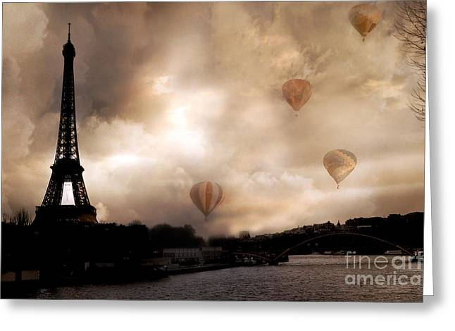 Soft Romantic Greeting Cards - Dreamy Surreal Eiffel Tower Hot Air Balloons Sepia Greeting Card by Kathy Fornal