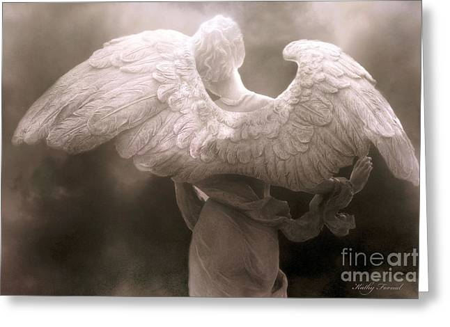 Dreamy Surreal Ethereal Angel Art Wings - Spiritual Ethereal Angel Art Wings Greeting Card by Kathy Fornal