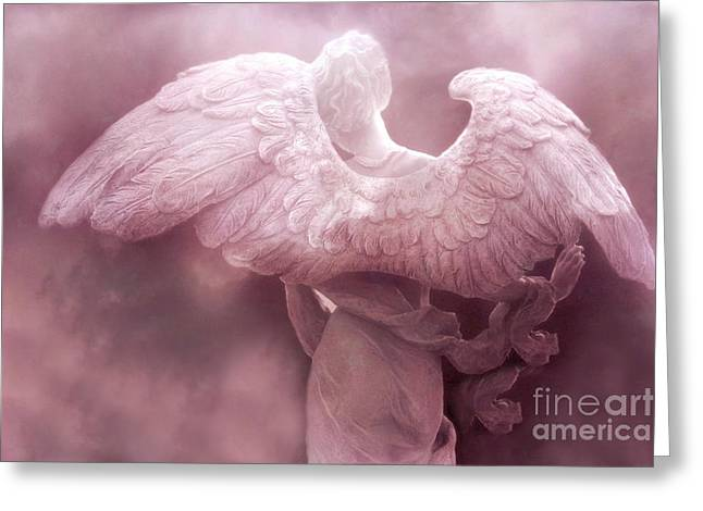 Sculpture Art Greeting Cards - Dreamy Surreal Ethereal Pink Angel Art Wings Greeting Card by Kathy Fornal