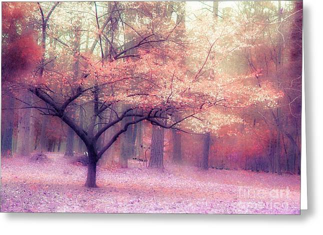 Fall Landscape Print Greeting Cards - Dreamy Surreal Fall Autumn Ethereal Trees Nature Landscape South Carolina Nature Landscape Greeting Card by Kathy Fornal