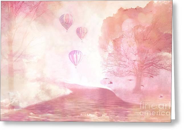 Balloon Art Print Greeting Cards - Dreamy Surreal Fantasy Fairytale Pastel Hot Air Balloons Dreamland Nature Fantasy Art Greeting Card by Kathy Fornal