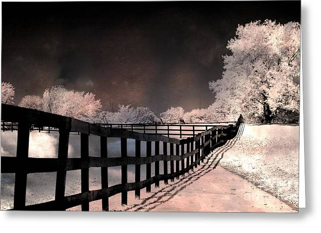 Surreal Infrared Dreamy Landscape Greeting Cards - Dreamy Surreal Fantasy Infrared Color Landscape Greeting Card by Kathy Fornal