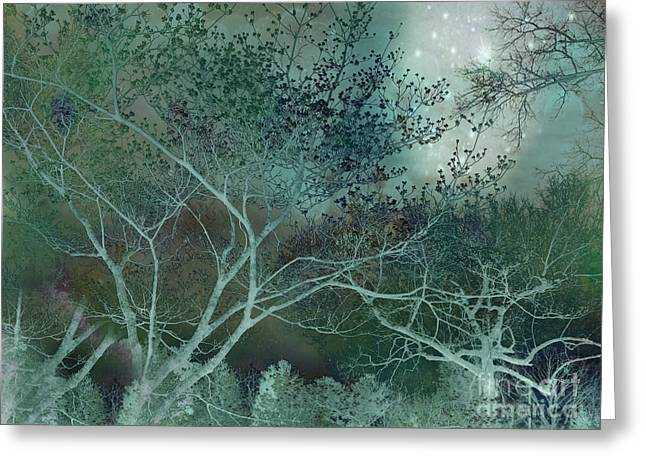 Fantasy Surreal Fine Art By Kathy Fornal Greeting Cards - Dreamy Surreal Fantasy Teal Aqua Trees Nature  Greeting Card by Kathy Fornal