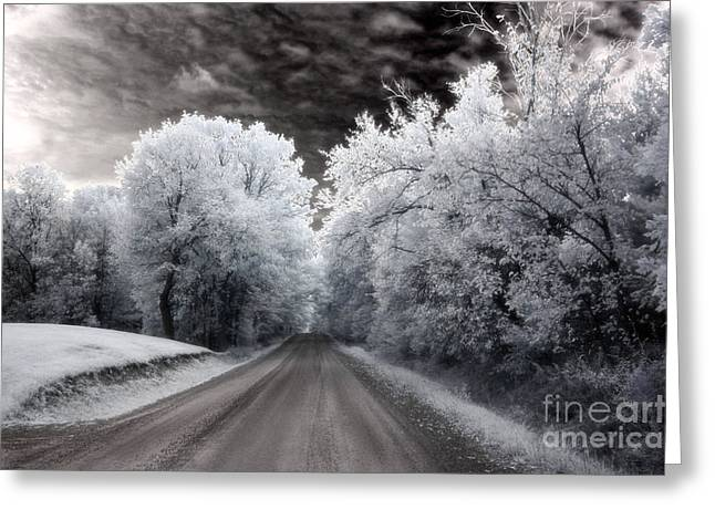 Surreal Infrared Dreamy Landscape Greeting Cards - Dreamy Surreal Infrared Country Road Landscape Greeting Card by Kathy Fornal