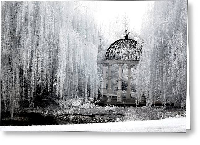 Nature Surreal Fantasy Print Greeting Cards - Dreamy Surreal Infrared Nature Ethereal Trees With Gazebo  Greeting Card by Kathy Fornal