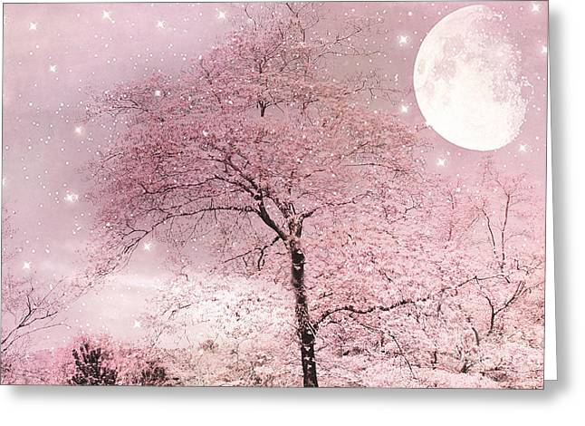 Dreamy Surreal Pink Fairytale Nature Trees Moon And Stars - Shabby Chic Pastel Pink Fairytale Nature Greeting Card by Kathy Fornal