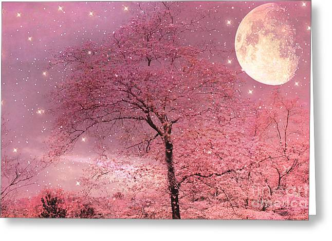 Dreamy Surreal Pink Fantasy Fairytale Trees Moon And Stars Greeting Card by Kathy Fornal