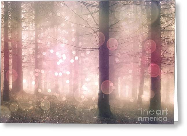 Surreal Pink Nature Prints By Kathy Fornal Greeting Cards - Dreamy Surreal Pink Pastel Fairytale Nature Trees With Bokeh Circles - Fantasy Pink Nature Greeting Card by Kathy Fornal