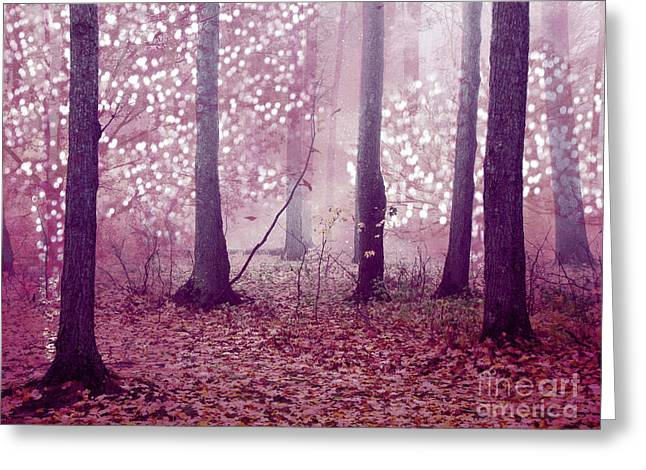 Dreamy Surreal Sparkling Twinkling Lights Pink Mauve Woodlands Tree Nature Greeting Card by Kathy Fornal