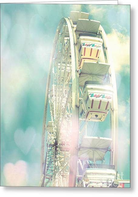 Festivals Fairs Carnival Photos Greeting Cards - Dreamy Teal Aqua Yellow Ferris Wheel Carnival Art With Hearts  Greeting Card by Kathy Fornal