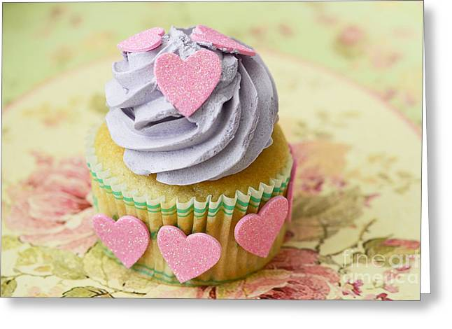 Cupcake Photography Greeting Cards - Dreamy Valentine Cupcake Pink Hearts Romantic Food Photography  Greeting Card by Kathy Fornal