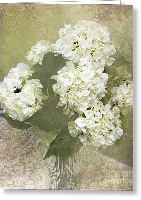 Dreamy Digital Art Greeting Cards - Dreamy Vintage Cottage Chic White Hydrangeas - Shabby Chic Dreamy White Floral Art  Greeting Card by Kathy Fornal