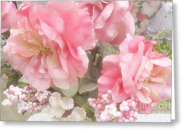 Pink Flower Prints Greeting Cards - Dreamy Vintage Cottage Shabby Chic Pink Roses Greeting Card by Kathy Fornal