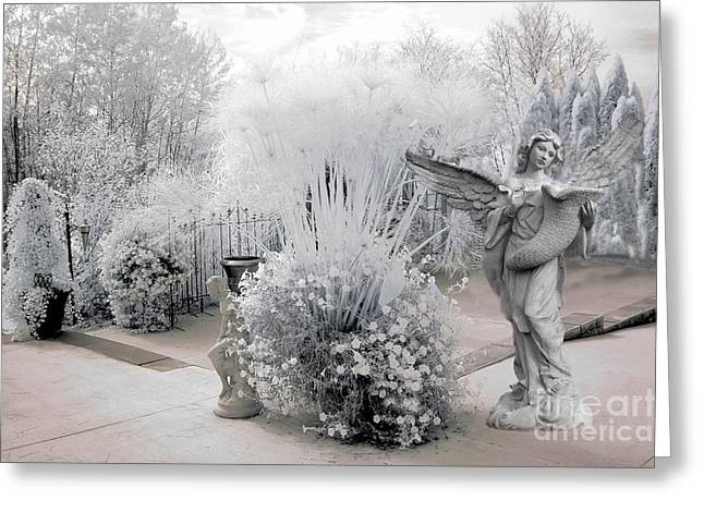 Angel Art Greeting Cards - Dreamy White Angel Fantasy Infrared Nature Greeting Card by Kathy Fornal