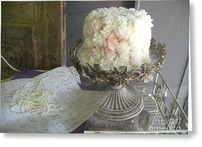 Dreamy White Wedding Cake On Vintage Pedestal Stand - Beautiful Shabby Chic White Wedding Cake  Greeting Card by Kathy Fornal
