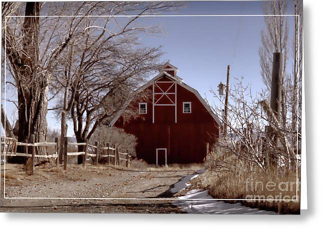 Sheds Greeting Cards - Dreamy Winter Barn Greeting Card by Janice Rae Pariza