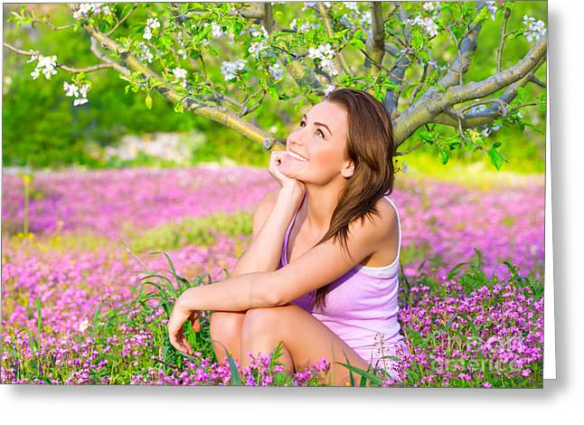 White Photographs Greeting Cards - Dreamy woman in blooming park Greeting Card by Anna Omelchenko