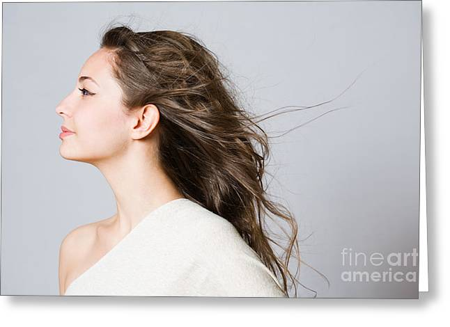 Gray Hair Greeting Cards - Dreamy young brunette beauty. Greeting Card by Alstair Thane