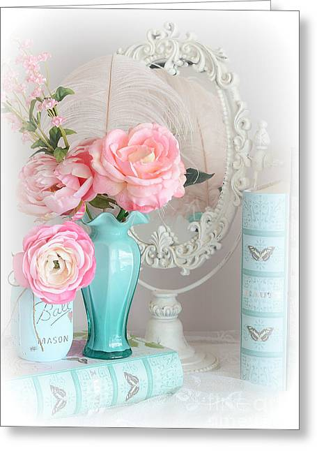 Ball Jars Greeting Cards - Dreany Shabby Chic Cottage Pink Aqua Floral - Romantic Cottage Chic Pink Roses and Books  Greeting Card by Kathy Fornal