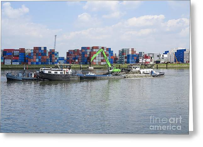 Boats In Harbor Greeting Cards - Dredger in the port of rotterdam  Greeting Card by Patricia Hofmeester