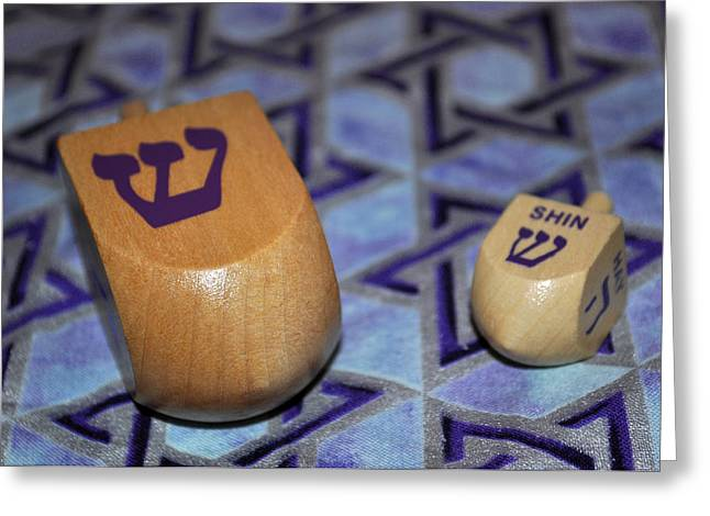 Hanuka Greeting Cards - Dreidel Dreidel Greeting Card by Roger Reeves  and Terrie Heslop