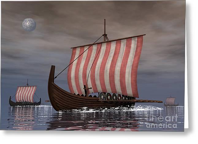 Sailboat Images Digital Greeting Cards - Drekar Viking Ships Navigating Greeting Card by Elena Duvernay