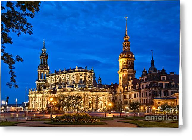 Dresden Greeting Cards - Dresden at night Greeting Card by Delphimages Photo Creations