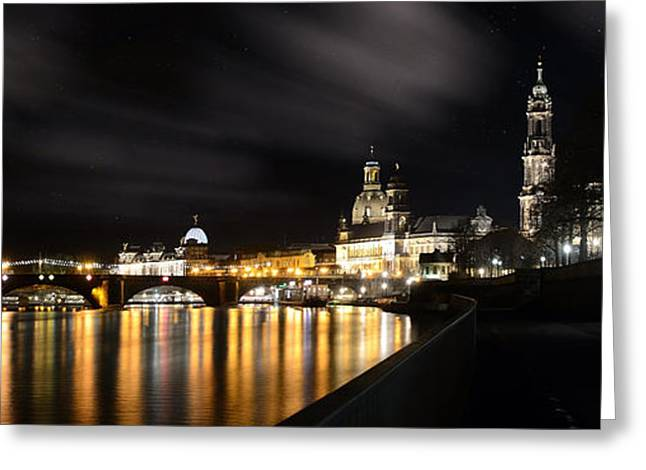 Deutschland Pyrography Greeting Cards - Dresden at Night Greeting Card by Steffen Gierok