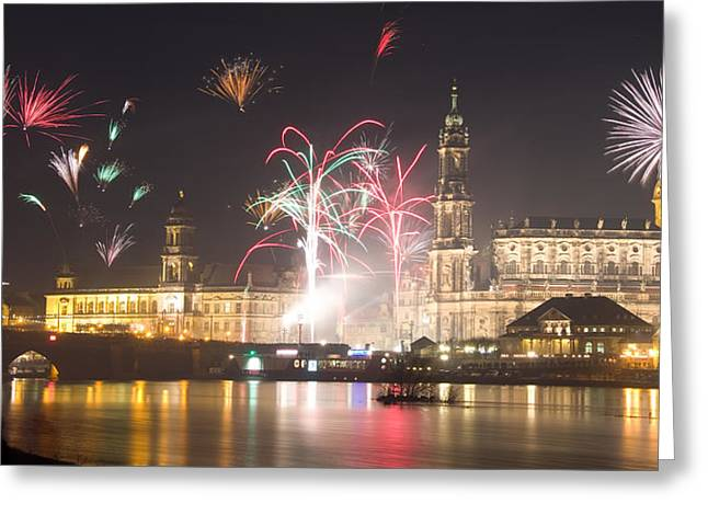 Himmel Pyrography Greeting Cards - Dresden Firework Greeting Card by Steffen Gierok