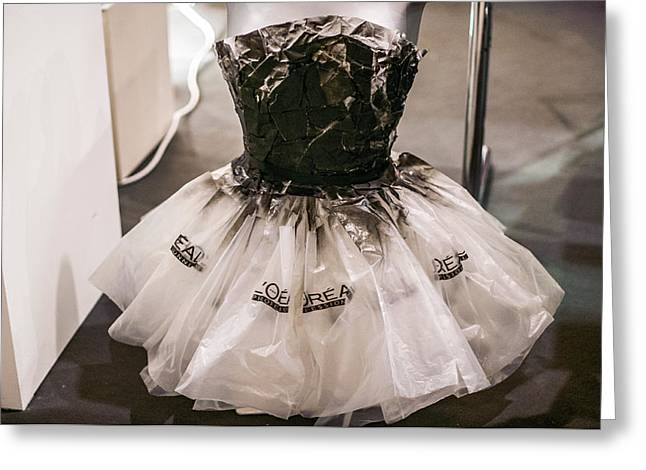 Transparent Clothes Greeting Cards - Dress made of plastic bags Greeting Card by Georgina Noronha
