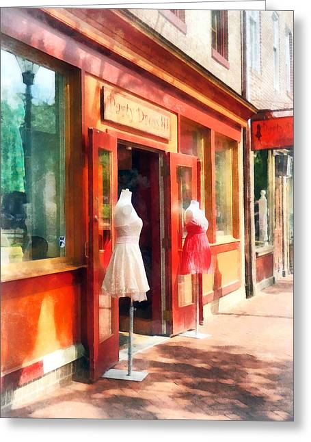 Md Greeting Cards - Dress Shop Fells Point MD Greeting Card by Susan Savad