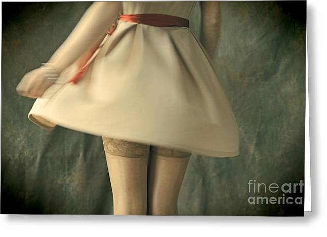 Looking Around Greeting Cards - Dress Twirl Greeting Card by Craig B