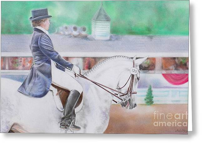 Dressage Pastels Greeting Cards - Dressage at Devon Greeting Card by Gail Dolphin