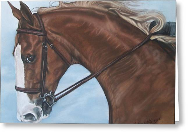 Dressage Pastels Greeting Cards - Dressage horse Greeting Card by Audrey Altemose