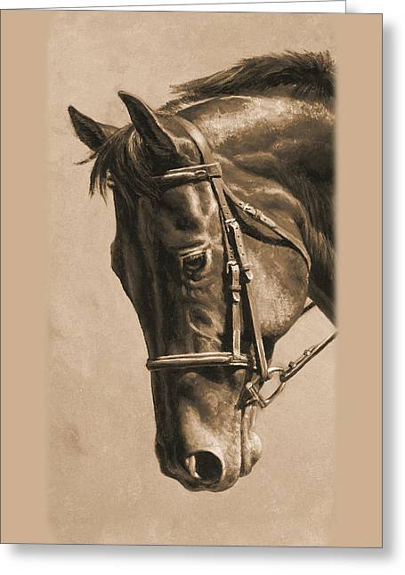 Show Horse Greeting Cards - Dressage Horse Sepia Phone Case Greeting Card by Crista Forest