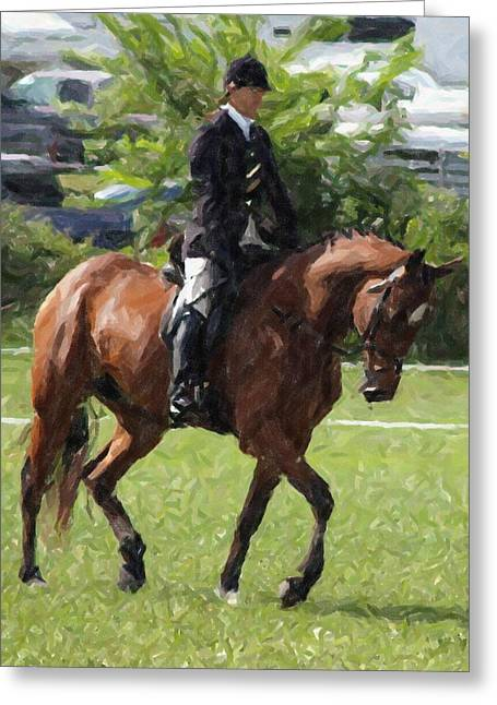 Dressage Pastels Greeting Cards - Dressage Horse Working The Arena Greeting Card by Olde Time  Mercantile