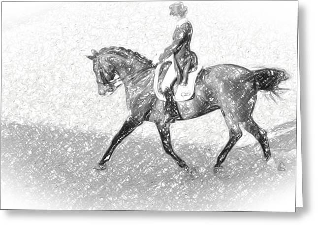 Dressage Drawings Greeting Cards - Dressage In Pencil Greeting Card by Alice Gipson