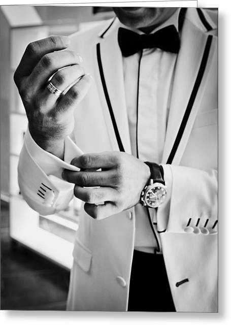 Tuxedo Greeting Cards - Dressed to the Nines Greeting Card by Nihan Dastan