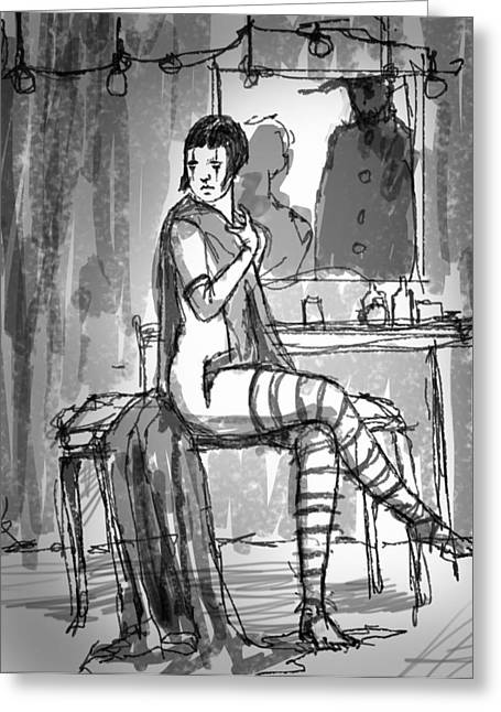 Dressing Room Drawings Greeting Cards - Dressing Room Greeting Card by H James Hoff