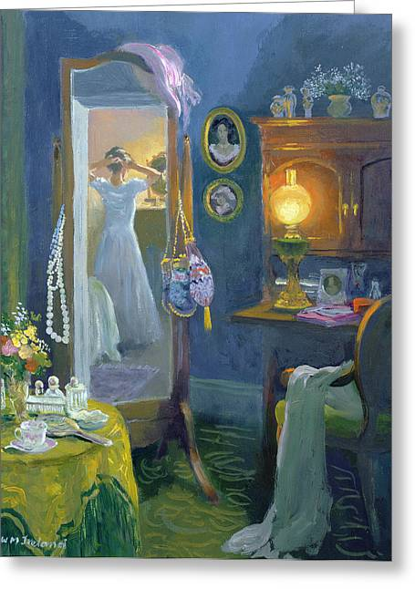 Oil Lamp Greeting Cards - Dressing Room Victorian Style Oil On Board Greeting Card by William Ireland