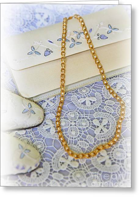 Gold Necklace Greeting Cards - Dressing Up Greeting Card by Lynne Sutherland