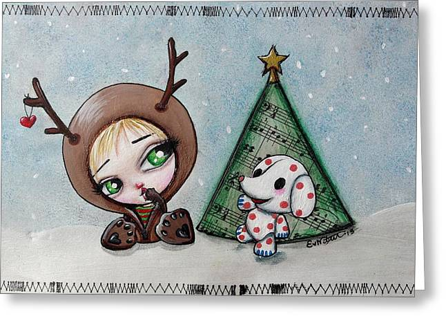 Rudolph Mixed Media Greeting Cards - Dressing Up With Misfit Toys Greeting Card by Lizzy Love of Oddball Art Co