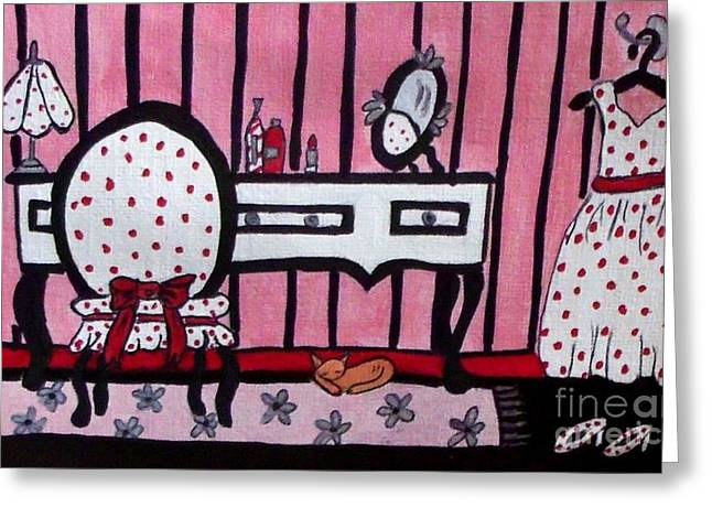 Dressing Room Greeting Cards - Dressing Vanity Table and Room Greeting Card by Gail Matthews