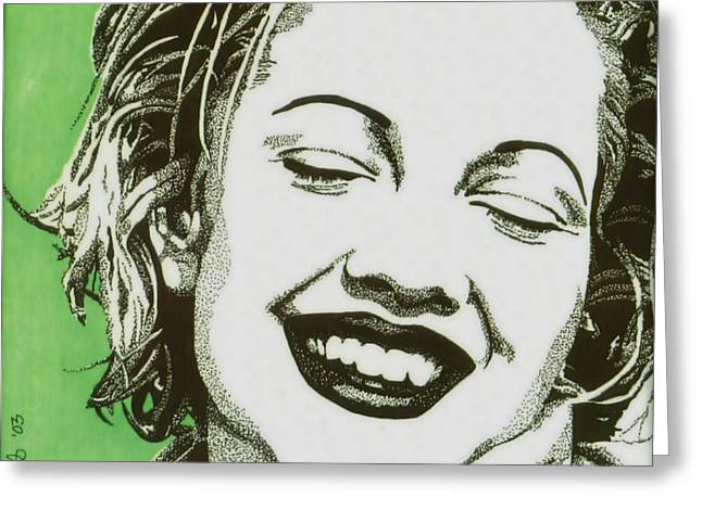 Pen And Ink Portraits Greeting Cards - Drew Barrymore Greeting Card by Cory Still