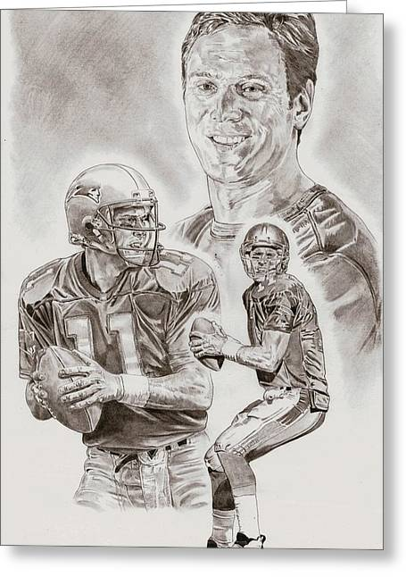 Pro Football Drawings Greeting Cards - Drew Bledsoe Greeting Card by Jonathan Tooley