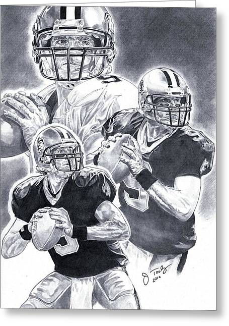 Pro Football Drawings Greeting Cards - Drew Brees Greeting Card by Jonathan Tooley