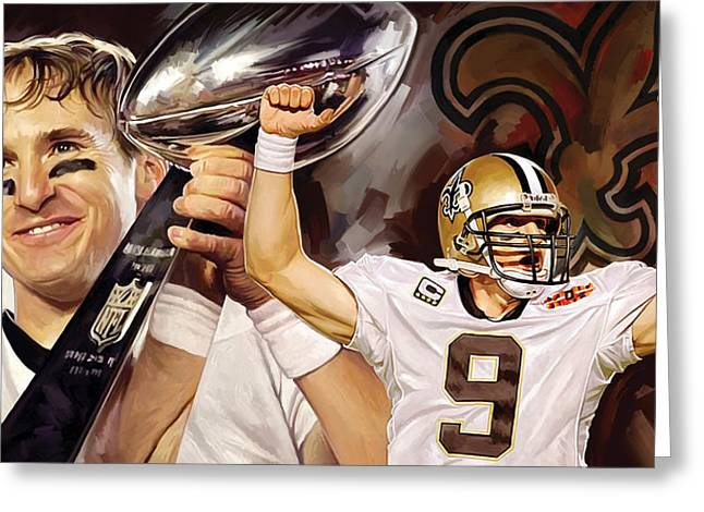 Drawn Greeting Cards - Drew Brees New Orleans Saints Quarterback Artwork Greeting Card by Sheraz A