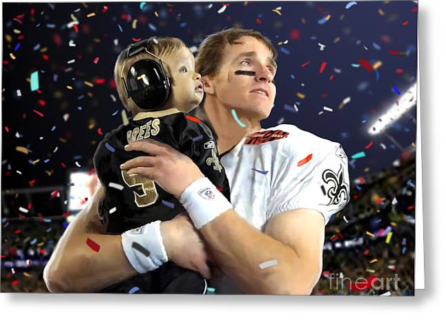 Drawn Greeting Cards - Drew Brees Greeting Card by Paul Tagliamonte
